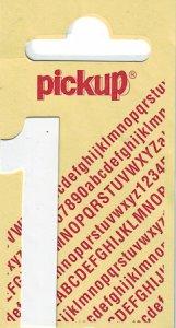 Sticker Ziffer 1, 60 mm weiß