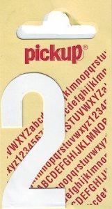 Sticker Ziffer 2, 60 mm weiß