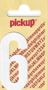 Sticker Ziffer 6, 60 mm weiß