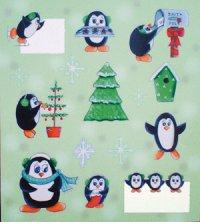 Handgefertigte 3D-Sticker Emsige Pinguine