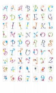 Epoxy-Sticker Große Buchstaben und Zahlen mit Blümchen