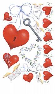 Rubbel-Sticker Herzen und Schlüssel