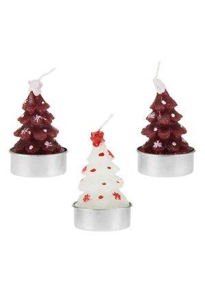 Tannenbaum Mit Kerzen.Kerzen Tannenbaum Rot Weiß 3er Set