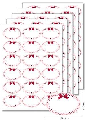 etiketten oval 39 roter rahmen mit schleife 39 5 blatt a4. Black Bedroom Furniture Sets. Home Design Ideas