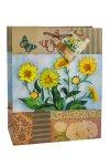 Geschenktasche Gartenblume gelb, 18,5 x 10,5 x 23 cm