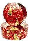 Geschenkboxen Weihnachtsmotive rund - 2er Set
