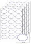 Etiketten oval Ornamente blau -  20 Blatt A4