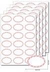 Etiketten oval Ornamente rot -  20 Blatt A4
