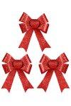 Weihnachts-Deko Glitzerschleifen rot - 3er Pack