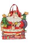 Deko-Geschenktasche Weihnachtsmann mit Tanne