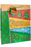 Geschenktüte CHRISTMAS mit grünen Bändern, 27 x 14 x 33 cm
