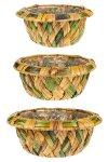 Flechtkorb rund zweifarbig - 3er Set
