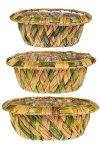Flechtkorb oval zweifarbig - 3er Set