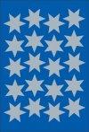 Schmucketiketten Sterne silber 21 mm
