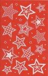Weihnachtsetiketten Sterne im Winter rot/weiß