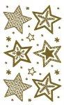 Weihnachtsetiketten Sterne im Winter gold