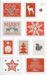 Weihnachtsetiketten Merry Christmas Briefmarken