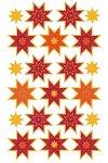 Weihnachtsetiketten Sterne-Sortiment gold/rot/orange