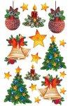 Weihnachtsetiketten Kugeln, Glocken, Kerzen