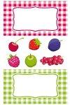 Etiketten Karierter Rahmen und Früchte