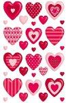 Schmucketiketten Herzen-Sortiment rot
