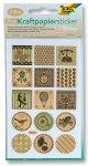 Kraftpapier-Sticker Vintage, ca. 10 x 16 cm, 8 Blatt, 4 Motive