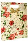 Geschenktasche Weihnachtsstern creme mit Schleife, 25 x 8,5 x 33 cm