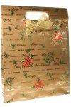 Geschenktasche Merry Christmas gold mit Schleife, 25 x 8,5 x 33 cm
