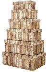 Geschenkbox-Set 'Holzdekor' rechteckig, 6-teilig
