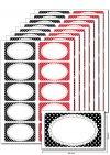 Etiketten 63 x 38 mm Punkte schwarz/rot, 80 Stück, A5