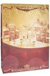 Geschenktasche Goldene Winterstadt, 25 x 8,5 x 34,5 cm