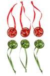 Anhänger Glöckchen rot/grün - 6er Pack