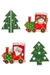 Holz-Aufkleber Weihnachten - 4er Set