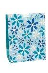 Geschenktasche Glitzerblume blau, 18,5 x 10,5 x 23 cm
