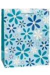 Geschenktasche Glitzerblume blau, 26,5 x 14 x 33 cm