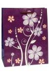 Geschenktasche Glitzerblume lila, 26,5 x 14 x 33 cm