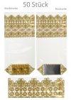 Kreuzbodenbeutel Spitze gold 100 x 220 mm 35 my,   50 Stück