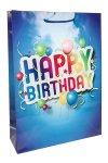 Geschenktüte Happy Birthday blau, 25 x 8,5 x 34 cm