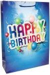 Geschenktasche Happy Birthday blau, 36 x 48 cm