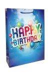 Geschenktüte Happy Birthday blau, 18 x 8 x 23 cm