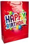 Geschenktüte Happy Birthday rot, 36 x 8,5 x 48 cm