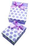 Geschenkbox Punkte, violett, 2er Set
