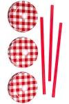 Trinkhalmdeckel SV 70 Weißblech rot kariert, 3er Set
