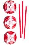 Trinkhalmdeckel SV 70 Kunststoff rot-weiß, 3er Set