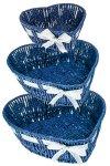 Herzschale blau mit Silberschleife - 3er Set