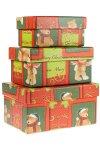 Geschenkboxen Weihnachts-Teddy, 3er Set