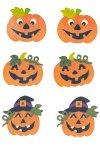 Deko-Aufkleber Halloweenkürbis aus Holz - 6er Set