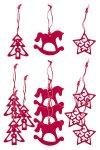 Filz-Anhänger Tanne, Stern, Schaukelpferd rot - 12er Set
