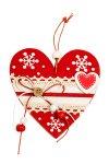 Holz-Anhänger Herz verziert rot/weiß