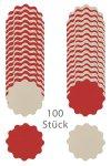 Wende-Deckchen aus Folie Ø 150 mm, rot/creme, 100er Pack